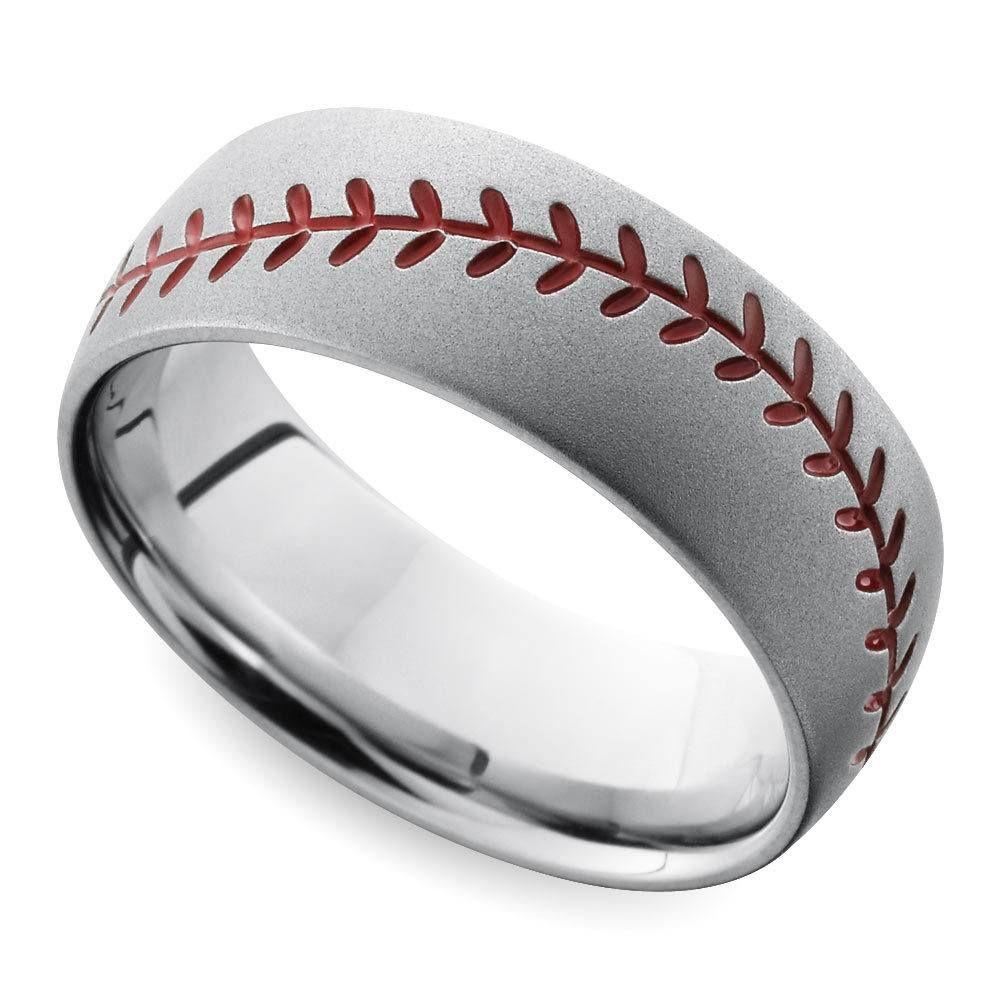 Beadblasted Mens Baseball Wedding Ring In Cobalt In 2020 Baseball Wedding Ring Mens Wedding Rings Sports Wedding Ring