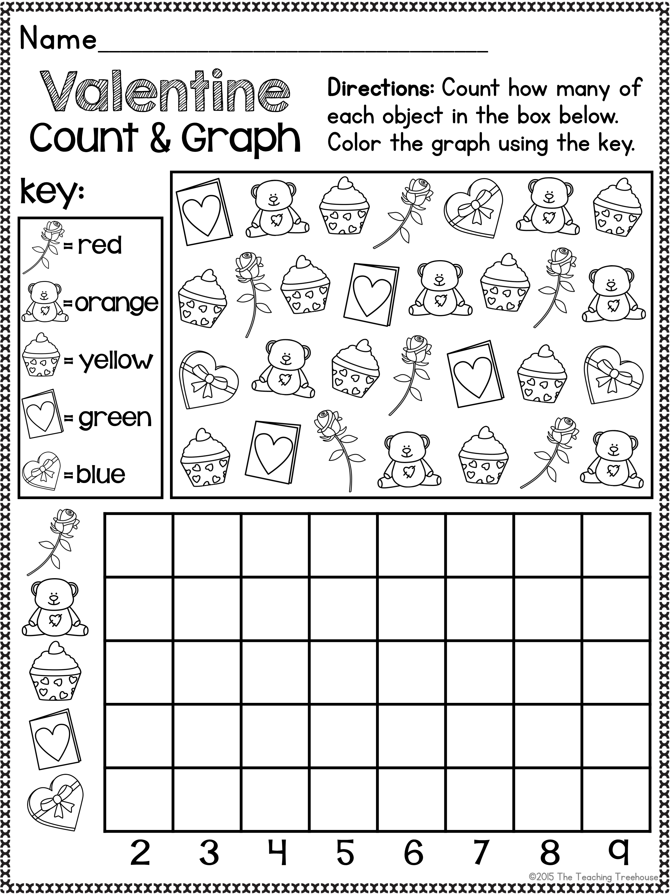 Valentine Pre K Number Worksheet