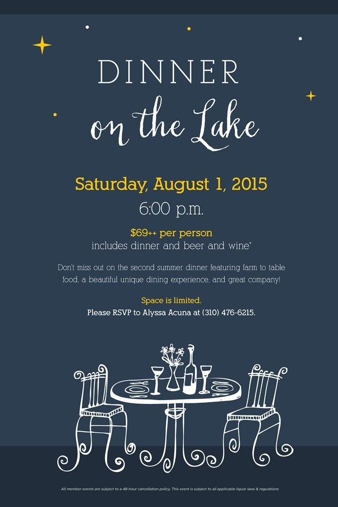 Dinner On The Lake Flyer Poster Template  Dinner Events  Dinner
