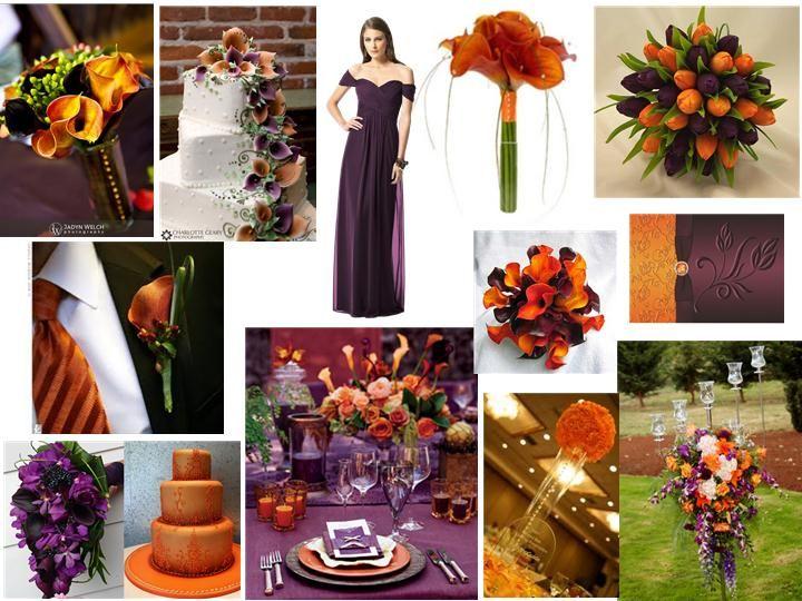 Eggplant And Burnt Orange Pantone Wedding Styleboard The Dessy
