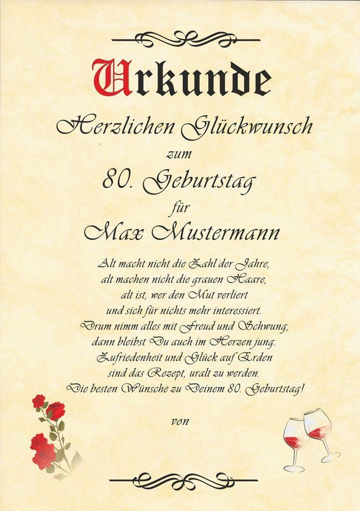 Geburtstagswunsche 80 Geburtstag Lustig Unique Urkunde Zum 45 50