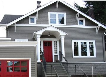 Grey siding white trim red door house pinterest for White house with grey trim