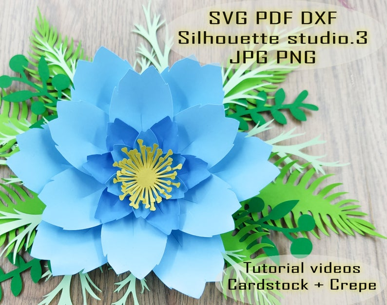 Lalia 10| Giant Paper flowers SVG template, blue rose paper flower, flower center leaf templates PDF DXF Png Jpg for cricut silhouette #giantpaperflowers