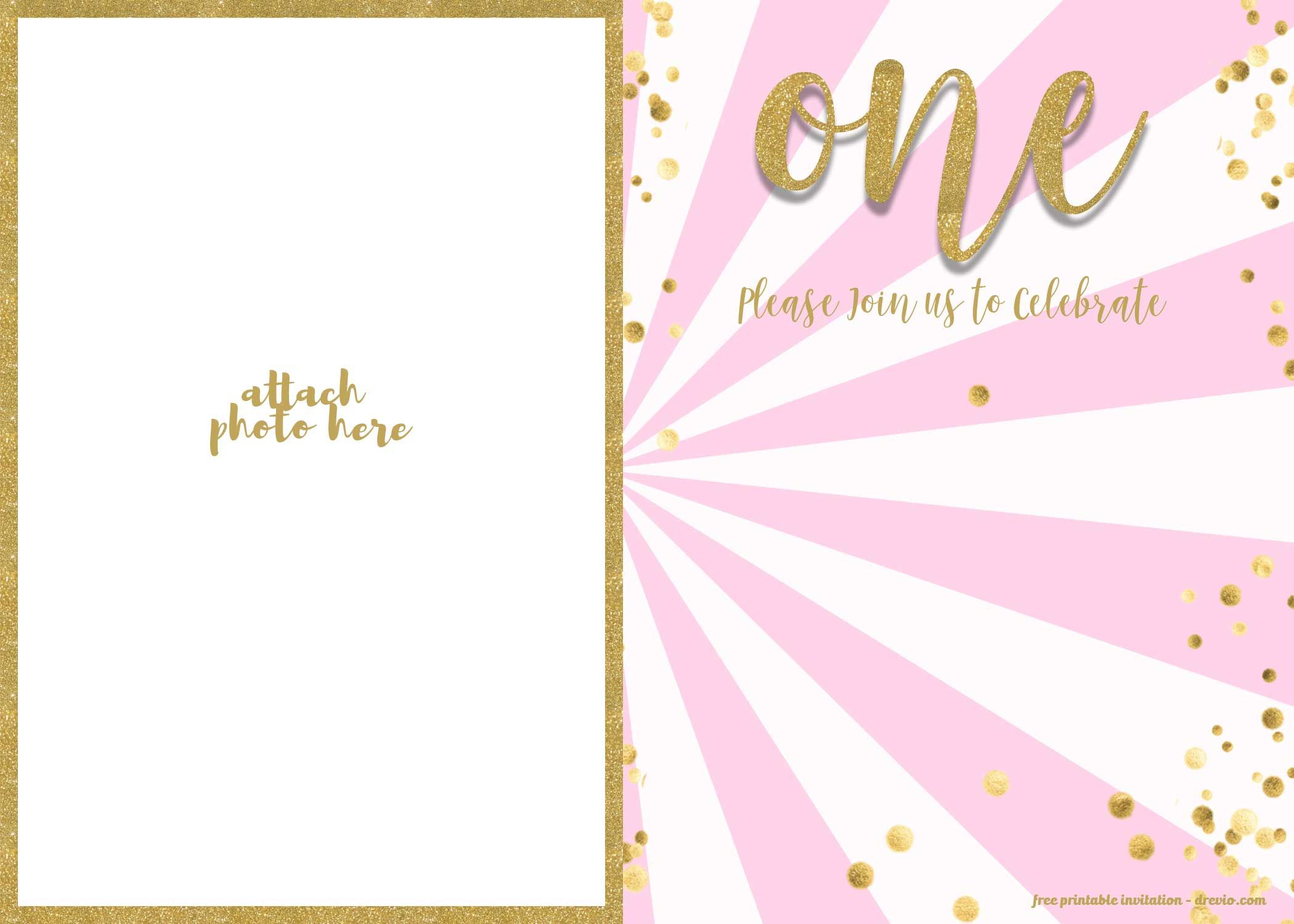 Free 1st Birthday Invitation Pink And Gold Glitter Template Drevio 1st Birthday Invitations 1st Birthday Invitation Template Printable Birthday Invitations