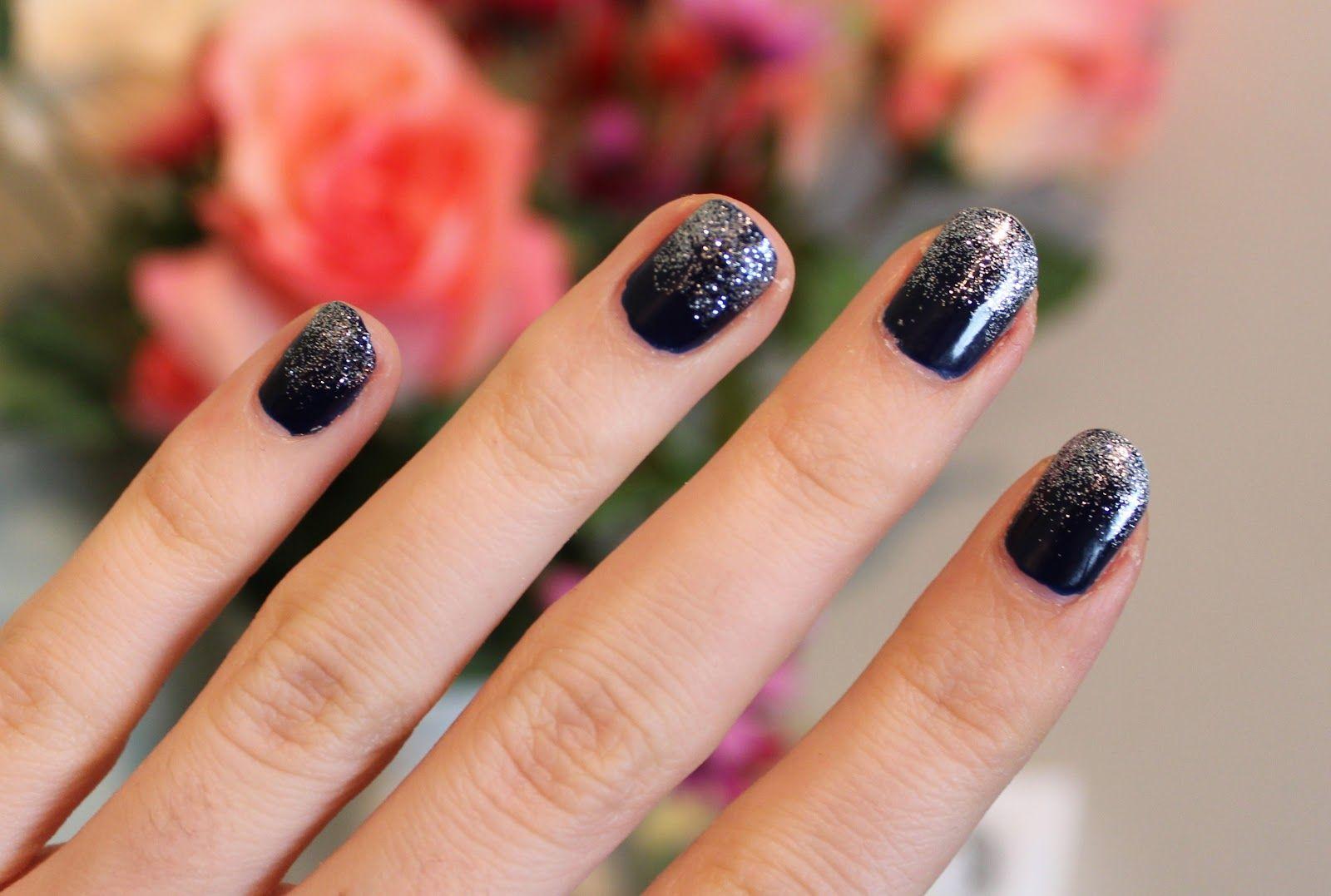 NAVY GLITTER NAILS – Lily Pebbles   Nail Art   Pinterest   Glitter ...