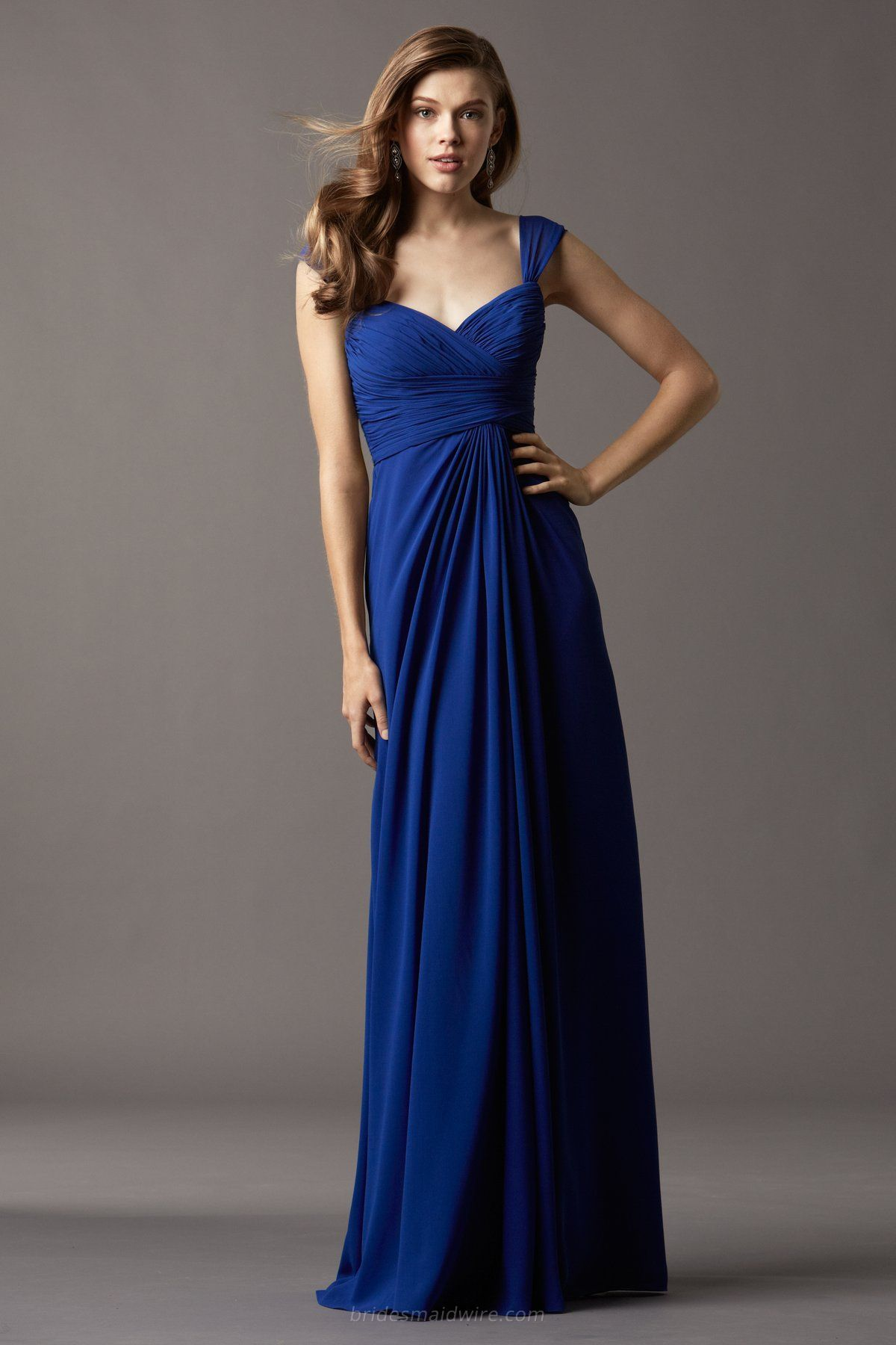 e90b4e7d0bc Cap Sleeve Floor Length Long Royal Blue Chiffon Draped Bridesmaid Dress