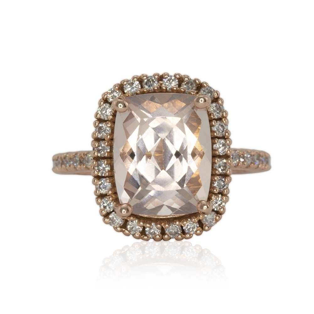 3 Carat Morganite Rose Gold Engagement Ring With Diamond Halo  Ls3354
