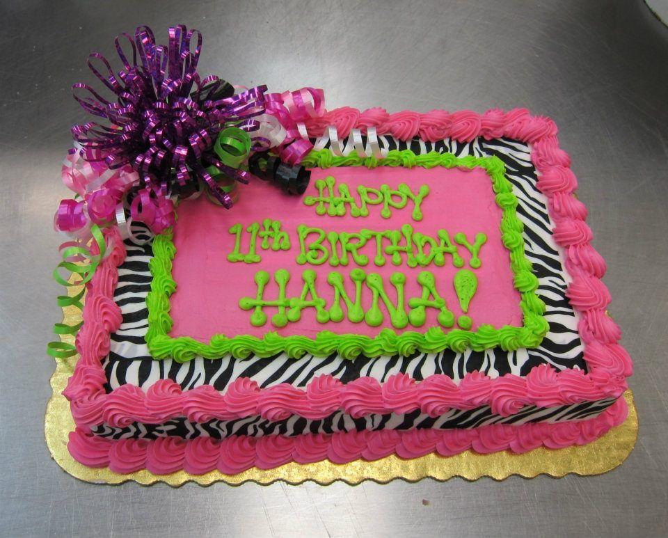 Birthday Cakes For Teenage Girls ~ Zebra birthday sheet cake by stephanie dillon ls1 hy vee bakery