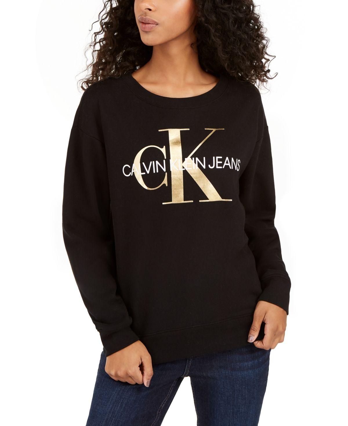 Calvin Klein Jeans Logo Print Sweatshirt Black In 2020 Sweatshirts Printed Sweatshirts Calvin Klein Jeans