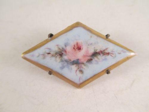 Vintage Antique Victorian Hand Painted Porcelain Brooch Unusual Diamond Shape | eBay