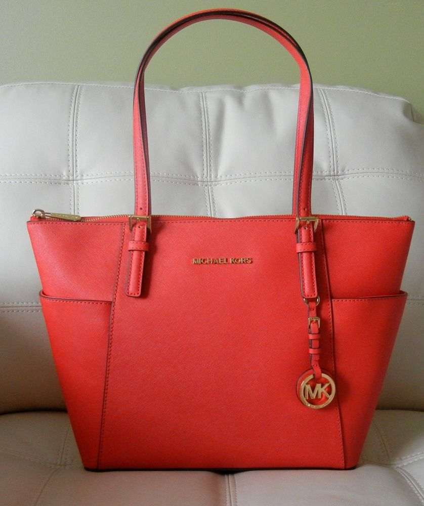 d38137414289 New Michael Kors Jet Set East West Top Zip Leather Tote Mandarin w Dust Bag   MichaelKors  TotesShoppers