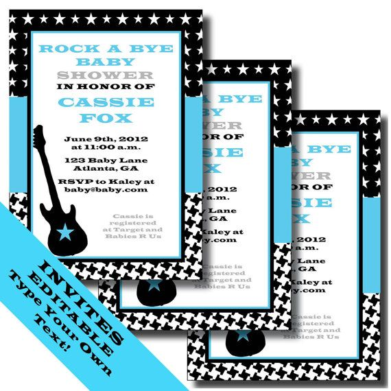 Rock a Bye Baby Printable Invitations and Party Supplies Rock n