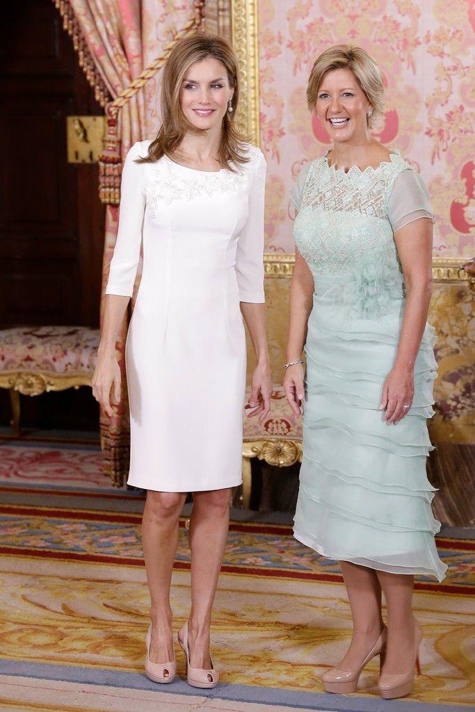 Queen Letizia of Spain welcome Panama's First Lady  Lorena Castillo de Varela  at Zarzuela Palace, Madrid 9/8/2014