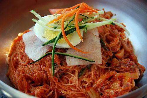 """YUM! The more spicy the better! """"Bibim Naengmyeon"""" (Korean ..."""