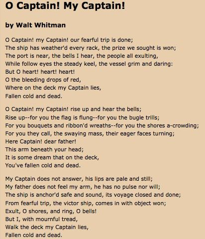 Essays About English O Captain My Captain By Walt Whitman Health Essays also Essay Examples English O Captain My Captain By Walt Whitman  Poetry  Pinterest  Poetry  Business Essay Topics