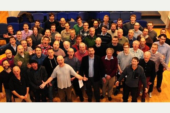Rehearsals for the new Bristol Man Chorus ' first ever all male choir.