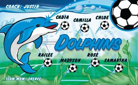 Dolphins-40586 digitally printed vinyl soccer sports team banner. Made in the USA and shipped fast by BannersUSA. www.bannersusa.com