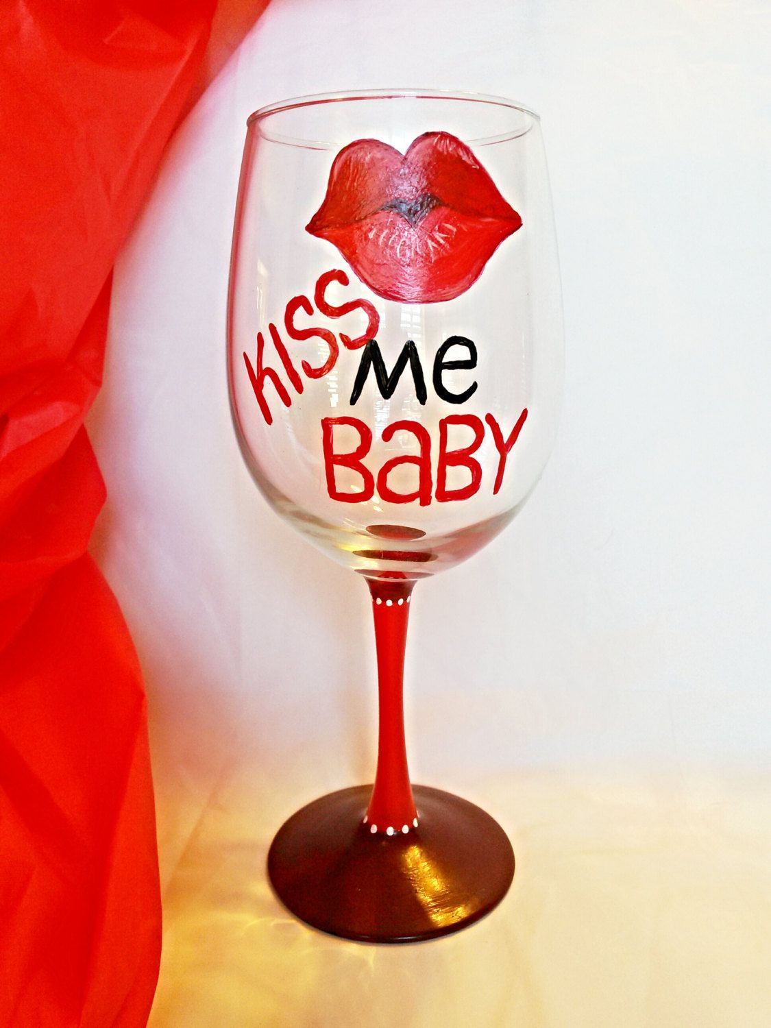 Valentines Day Gift Painted Wine Glass Decorated Wine Glass Anniversary Gift Red Kissing Gifts For Fiance Birthday Gift For Wife Anniversary Gifts For Wife