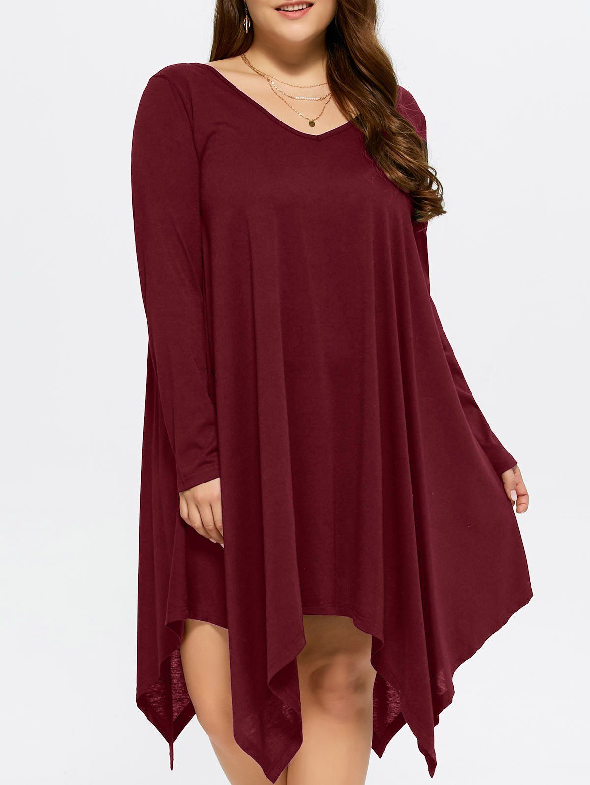 $9.00 plus size asymmetrical loose fitting dress in dark red