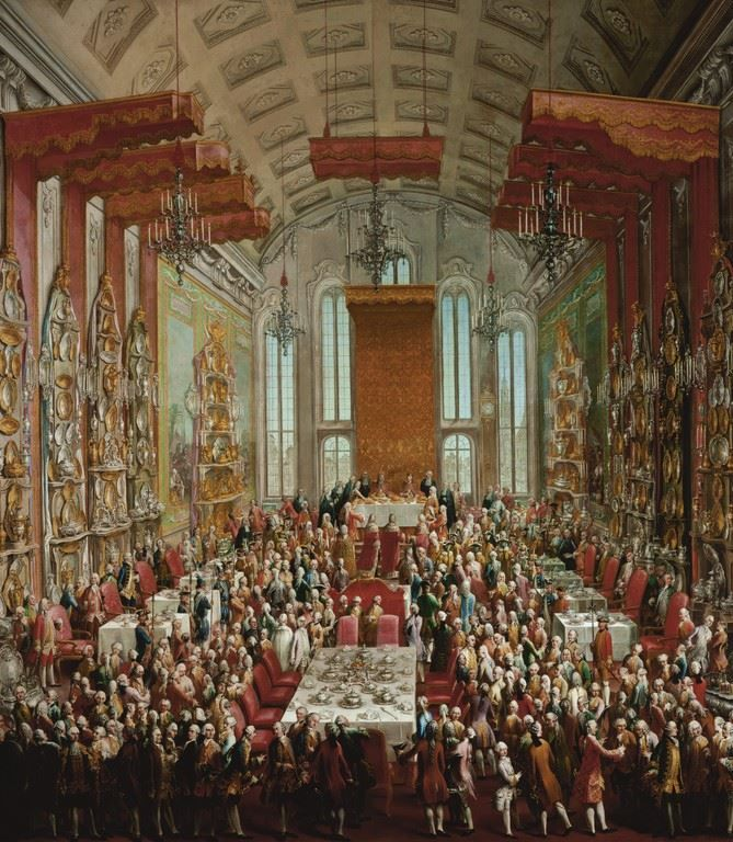 the coronation banquet of joseph ii in the r mer in frankfurt martin van meytens after 1764. Black Bedroom Furniture Sets. Home Design Ideas