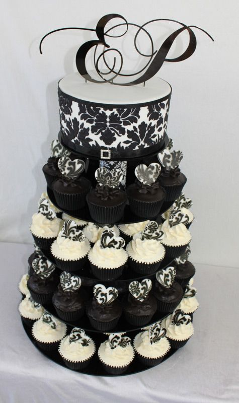Black And White Stencil Cupcake Tower