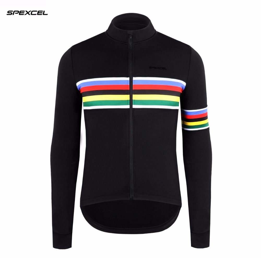 12693e00c 2017 NEW SPEXCEL rainbow black winter thermal fleece Long Sleeve Cycling  Jersey Bike Bicycle Wear Ropa
