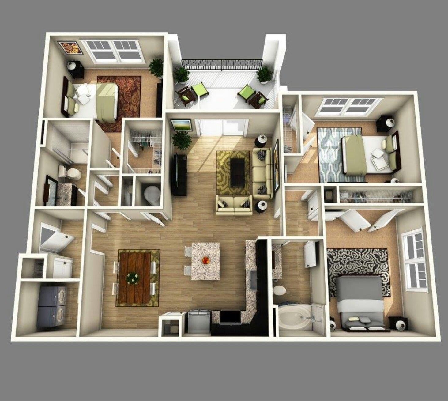 3 To 4 Bedroom Apartments Near Me: Apartment Floor Plans, 3d House Plans
