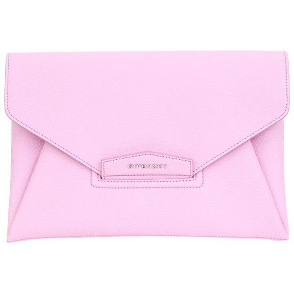 Givenchy Antigona Envelope leather clutch (4,475 PEN) ❤ liked on Polyvore featuring bags, handbags, clutches, pink, pink clutches, pink leather handbags, givenchy, leather purse and leather handbags