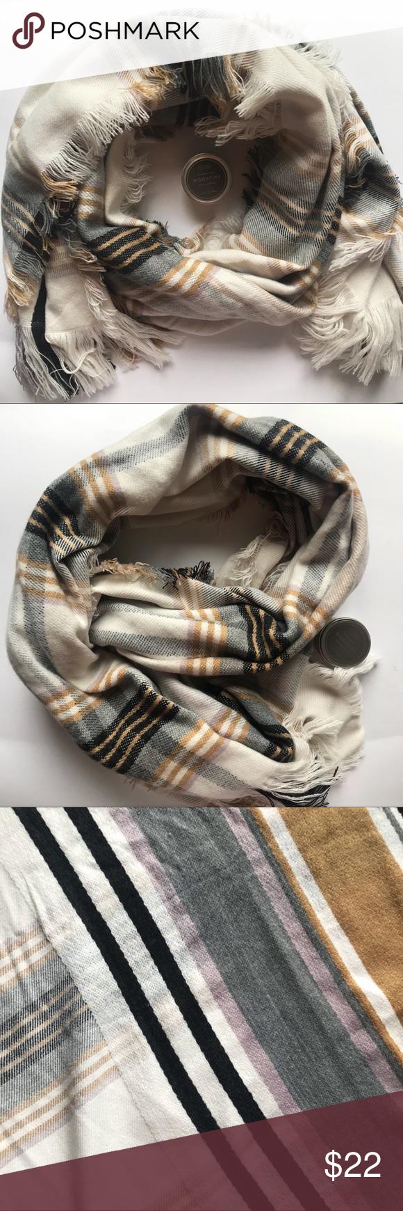 74ada17fc5b Plaid Cream Soft Blanket Scarf This gorgeous and soft blanket scarf ...