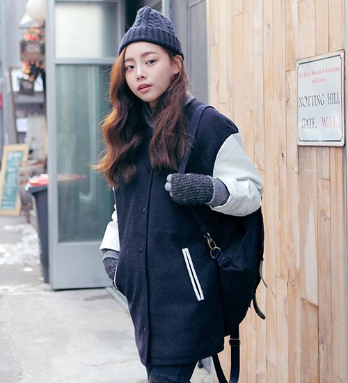 Stylenanda Tri Tone Baseball Jacket Mode Coreenne Mode Tenue
