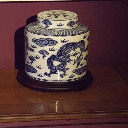 Round Tea Caddy with Wooden Stand