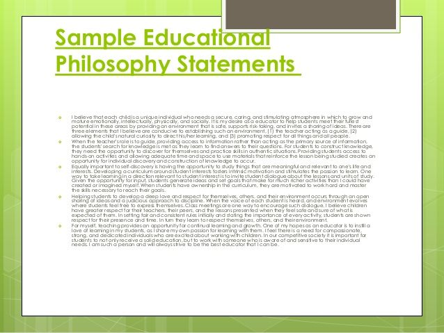 How to Write a Philosophy of Education