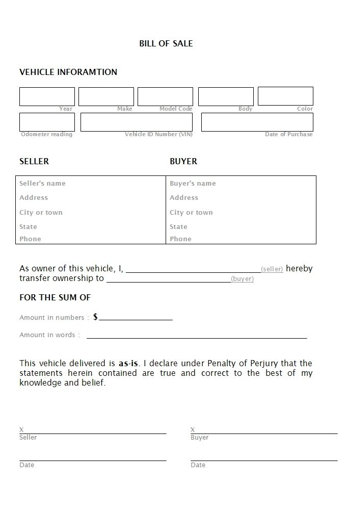 Free Vehicle Bill Of Sale bill-of-salejpg KEN Pinterest - car for sale template