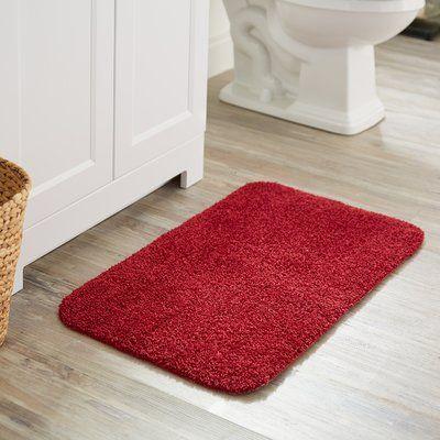 Beachcrest Home Darby Basic Bath Rug Color Cranberry Red Bath Rug Bath Rugs Bath Rug