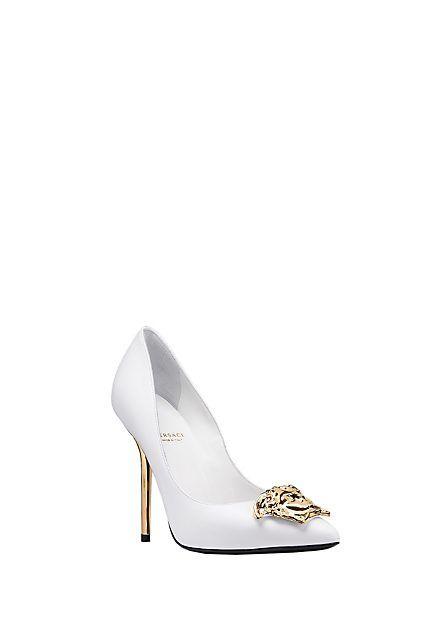 eb6746dac9 Palazzo Leather Heel white gold Versace   A Shoe Life   Versace ...
