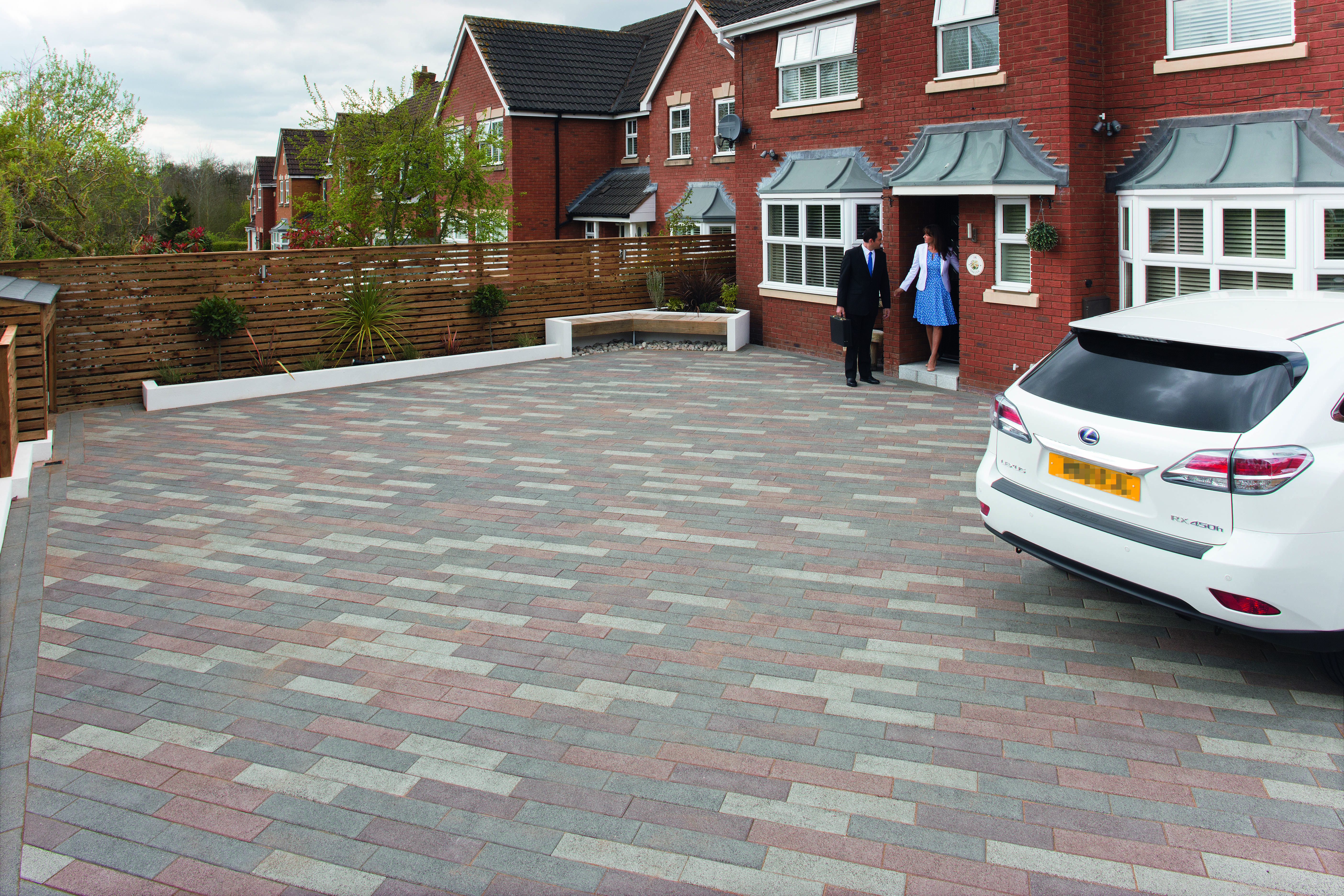 Create A Feature Of Your Driveway By Mixing Different Colour Blocks Of The Same Range Image Is Driveline Metr Driveway Design Driveway Paving House Exterior