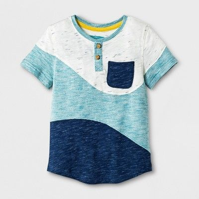 db3e6953 Toddler Boys' Genuine Kids from OshKosh Short Sleeve Wave Henley Shirt -  Blue 18 M