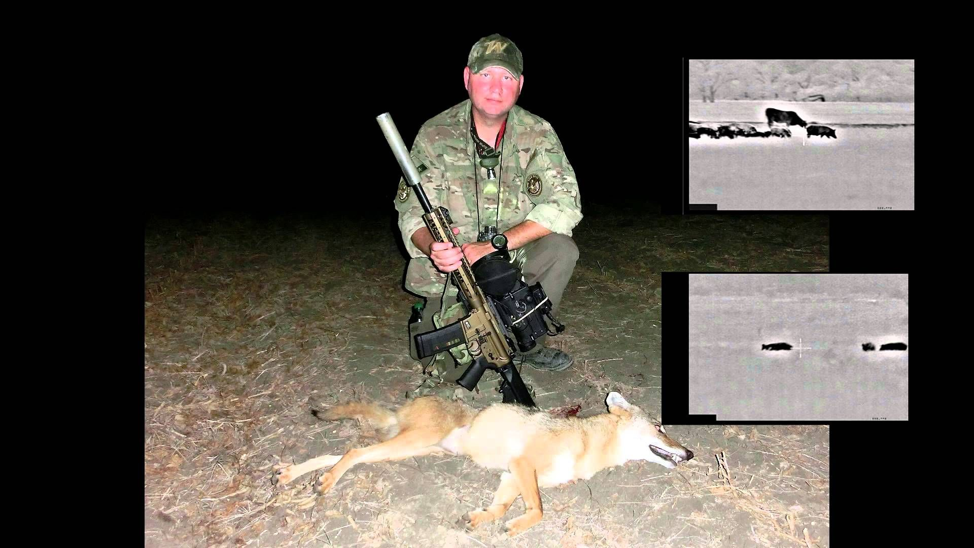 Coyote hunt with suppressed lwrc six8 and thermal coyote