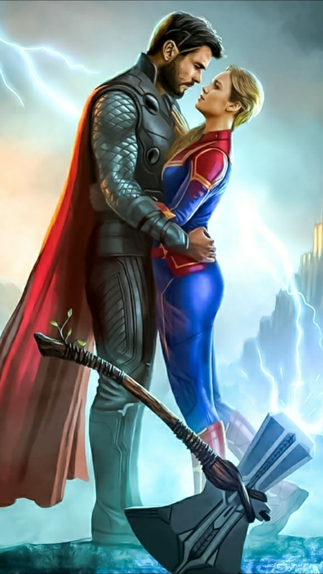 Thor And Captain Marvel Romantic Embrace Marvel And Dc Superheroes Marvel Wallpaper Hd Marvel Wallpaper Trends for thor and captain marvel love