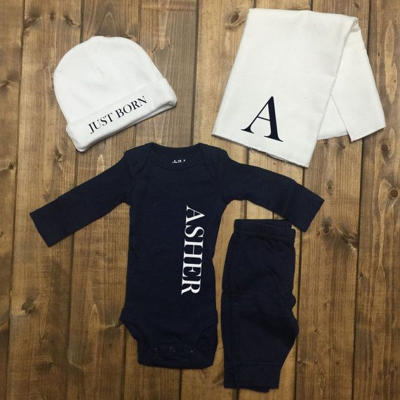 Personalized baby boy coming home outfit boys monogrammed outfit personalized baby boy coming home outfit boys monogrammed outfit newborn boy hospital baby negle Images
