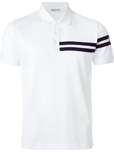 22d1025fe546 Shop Moncler striped applique polo shirt in Verso from the world s ...