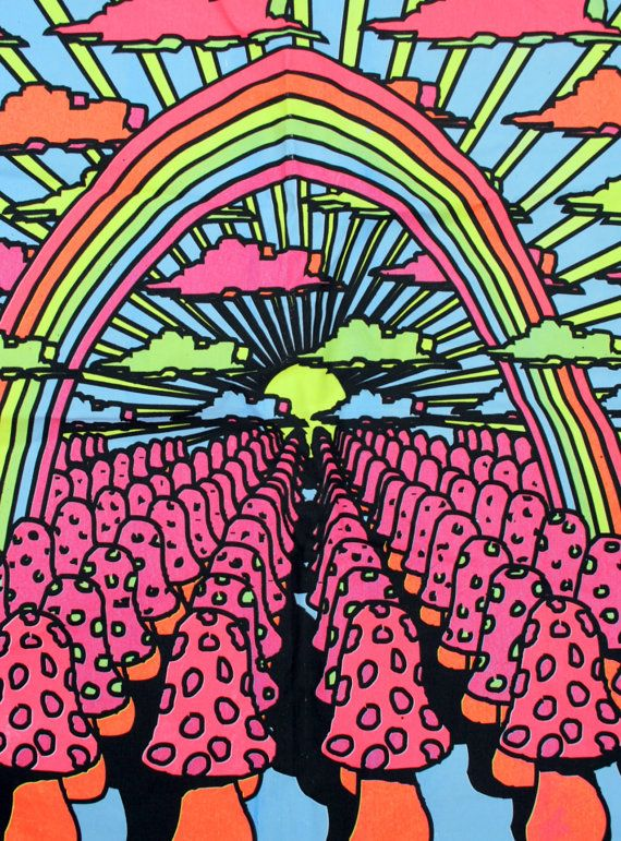 Vintage Neon Mushroom Psychedelic Trippy Black Light Hippie Fabric