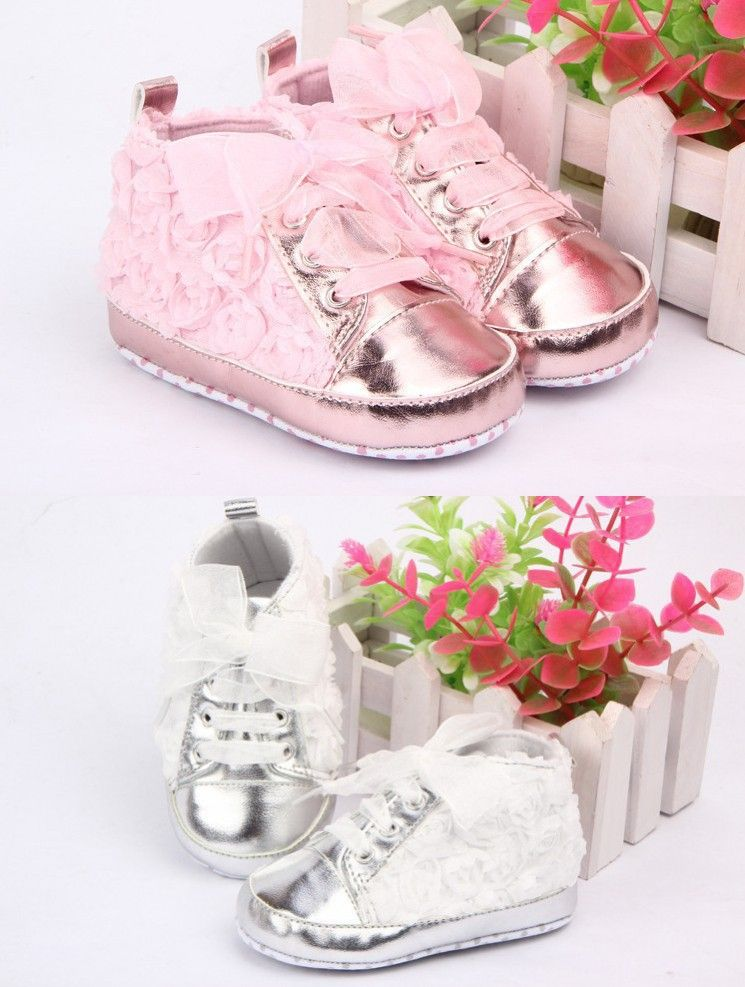 b37fc245f580 Pink Baby Shoes Girls Toddler Soft Sole with Rose Flowers Children Shoes  Infant Lace Shoes