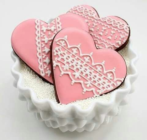 Pink heart decorated biscuits