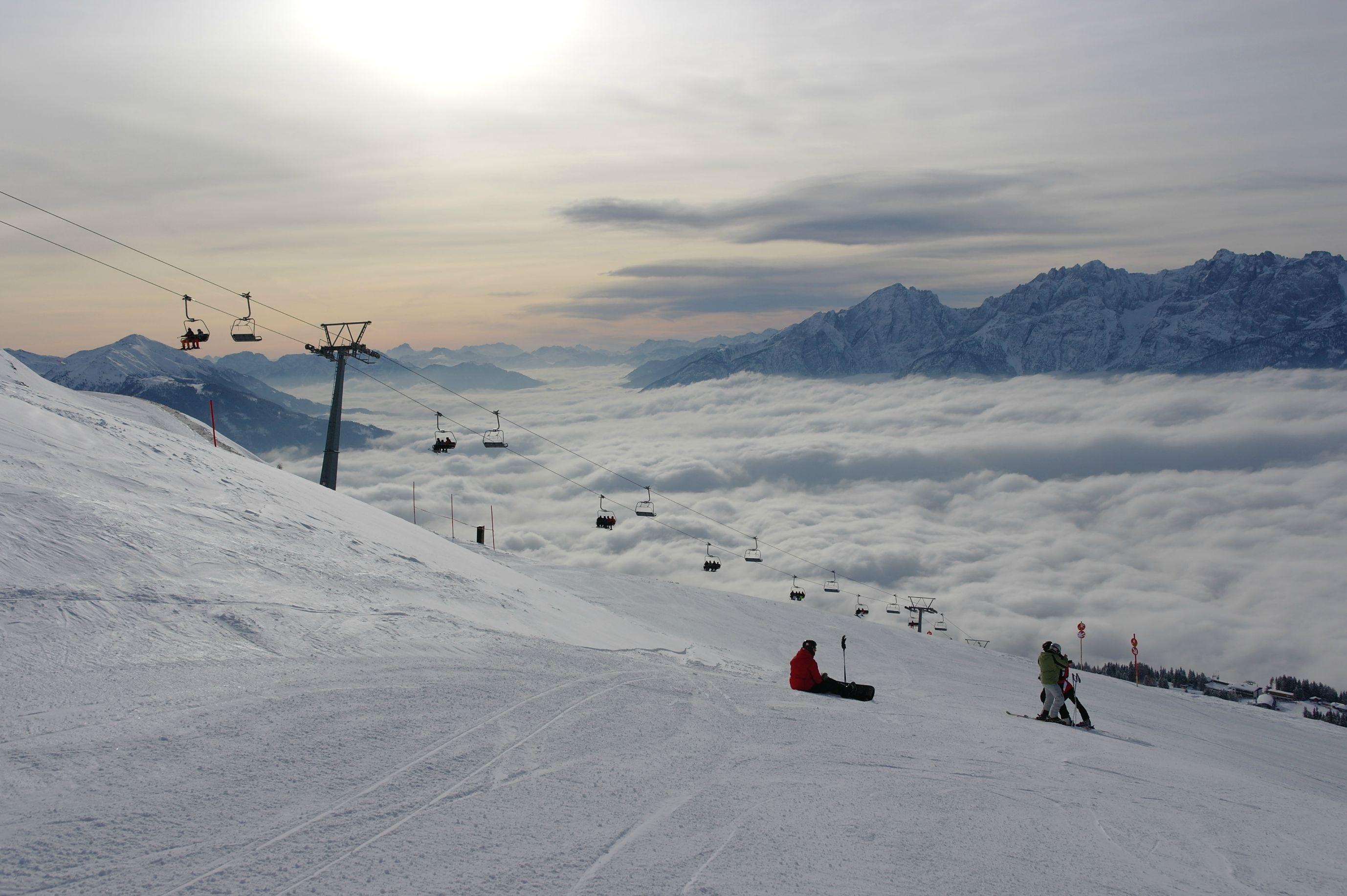 Fog over the city of Lienz, Austria