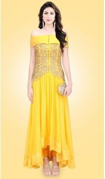 Party Wear Readymade Gown In Crepe Silk Yellow Color Fh524379391