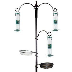 Garden Bird Feeding Feeder Station Feed Water Table New Black