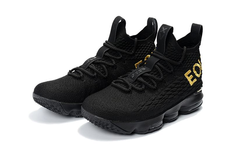 40150c543860a4 Nike LeBron 15 EQUALITY PE Black Metallic Gold Basketball Shoes On Sale