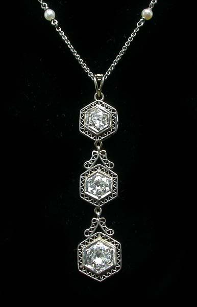 Edwardian 2ct Diamond & Pearl Platinum and 9kt Gold Necklace