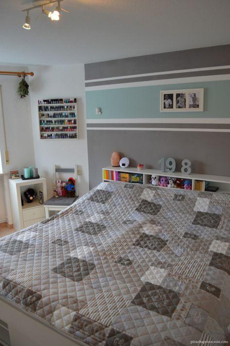 Einrichtung Schlafzimmer Interior Design Bedroom Türkis Grau Streifen  Stripes Grey Turquoise | Diy | Pinterest | Wand, Paint Ideas And Kids Rooms